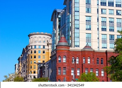 Blend of modern and historic buildings in Washington DC, USA. Chinatown neighborhood on a summer morning.