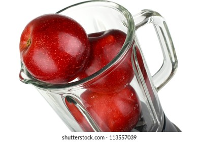 Blender with red apple isolated on white