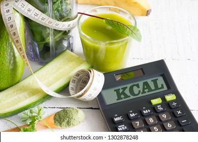 Blender smoothie fresh fruits and counting calories healthy life style food concept
