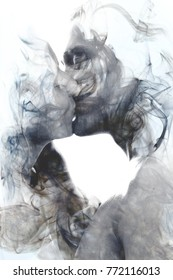 Blending into one another, a spontaneous romantic kiss blows her away into the emptiness and fullness of pure love