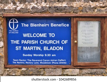 The Blenheim Benefice - Welcome to The Parish Church of St Martin, Bladon blue sign on brick wall - Resting place of Sir Winston Churchill in Bladon, Oxfordshire, UK 09.03.2018