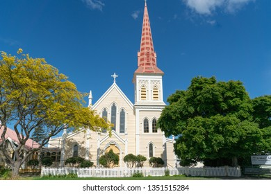 BLENHEIM NEW ZEALAND - OCTOBER 28; St. Mary's Catholic Church in Blenheim with tall historic  pink clad bell tower October 28 2018 Blenheim New Zealand