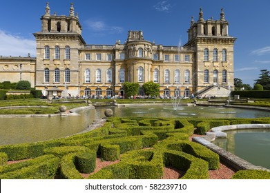 Blenheim Palace, UK - August 21, 2013: The Palace, the residence of the dukes of Marlborough, is a UNESCO World Heritage Site