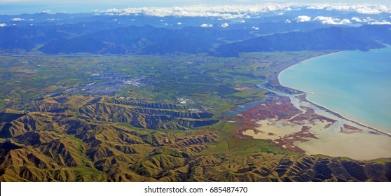 Blenheim & Wairau Valley Aerial Panorama with the Big Lagoon and Cloudy Bay on the right and the town of Blenheim in the middle distance.