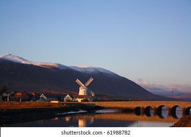 Blennerville Windmill Tralee Co kerry Ireland, With snow cover mountains taking during winter 2010