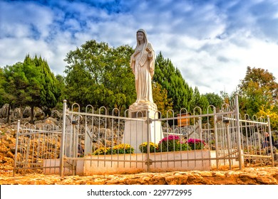 Blessed Virgin Mary Statue on Mount Podbrdo, the  Apparition hill overlooking the village of Medjugorje in Bosnia ed Erzegovina