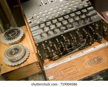 Bletchley, England - June 21, 2015: Enigma Machine, Used to decode enemy messages during WWII, Bletchley Park, Milton Keynes, Britain