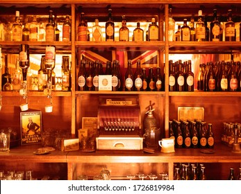 BLETCHLEY, MILTON KEYNES / UNITED KINGDOM - SEPTEMBER 3, 2016: Period bar replica at the WWII Code Breaking Museum, Bletchley Park