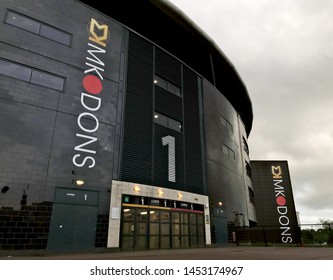 Bletchley / UK - June 7, 2019: Stadium MK, home of the MK Dons, in Bletchley on a cloudy day.