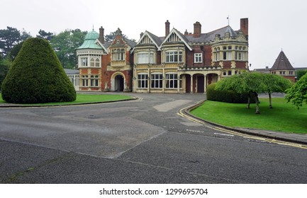 BLETCHLEY, UNITED KINGDOM -15 MAY 2016- View of Bletchley Park, the building complex where codebreakers worked with Alan Turing during Worl War II to develop the Enigma machine and early computers.