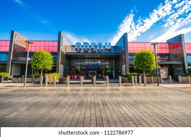 Bletchley,Milton Keynes,England, June 2018: MK1 Shopping & Leisure Park. Strip mall offering well-known high-street fashion retailers' outlets and a sizable parking area