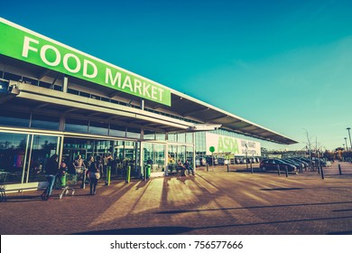 BLETCHLEY,UK - NOVEMBER 14TH, 2017: Asda is a UK supermarket retailer, headquartered in Leeds.The company became a subsidiary of the American corporate giant Walmart after a £6.7 billion takeover