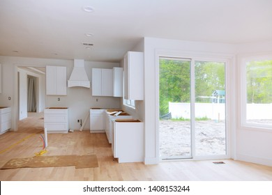 Blind cabinet, island drawers and counter cabinets installed