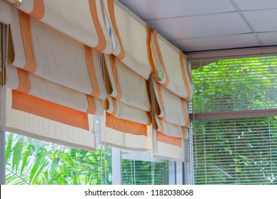 blind, curtain, louvers, sun protection with glass window and green garden outside, Feel shady.