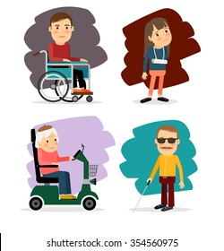 Blind man, broken arm, and people on wheelchair