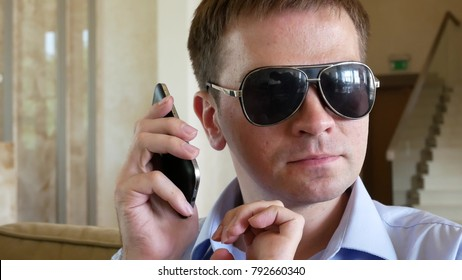 Blind Man With Disability Using Digital Assistant and Ease of Access Functions on Mobile Phone, Voice Typing To Smartphone. Blind Handicapped Person Visually Impaired Man Speaks By SmartPhone