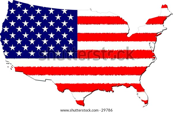 A blind map of the (continental)united states with the stars and stripes as background