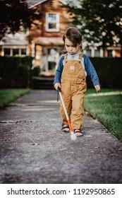 Blind or Visually Impaired Child/Kid/Toddler/Preschooler/Boy Walking Through Neighborhood with Long White Cane, #2