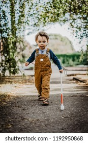 Blind or Visually Impaired Child/Kid/Toddler/Preschooler/Boy Walking Through Neighborhood with Long White Cane, #3