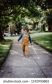 Blind or Visually Impaired Child/Kid/Toddler/Preschooler/Boy Walking Through Neighborhood with Long White Cane, #4