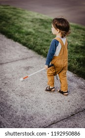 Blind or Visually Impaired Child/Kid/Toddler/Preschooler/Boy Walking Through Neighborhood with Long White Cane; Back to Camera, #1