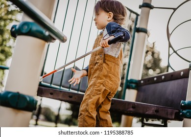 Blind or Visually Impaired Toddler/Child/Boy/Kid/Student/Preschooler Playing on Playground Equipment; Independently Climbing up Stairs and Exploring with Long White Cane