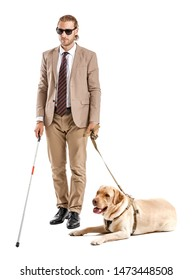 Blind young man with guide dog on white background