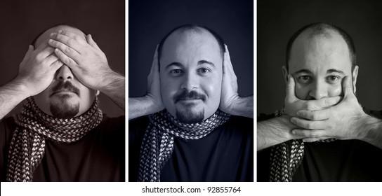 Blind/Deaf/Dumb Man portrait set on dark background.