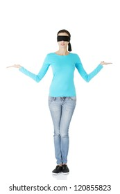 Blindfold woman presenting copy space on her palms, isolated on white