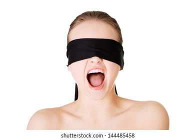 Blindfold woman screaming, isolated on white background