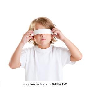 blindfolded children blond kid portrait isolated on white