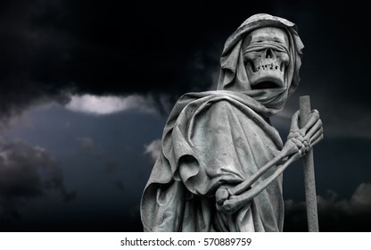 The blindfolded Grim Reaper Death personified wanders in the stormy night