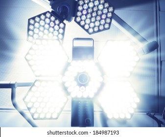 Blinding Light of surgical lamp. Fear of the patient before surgery