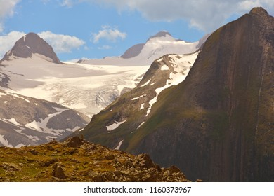 Blinnenhorn (left) and Ritzhorner (centre right) above the Gries Glacier in the Southern Swiss Alps