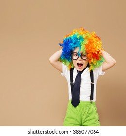 Blithesome children. Happy clown boy with large colorful wig. Close-up Portrait of Little boy in clown wig and eyeglasses