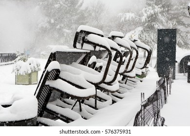 Blizzard in Central Park. Manhattan