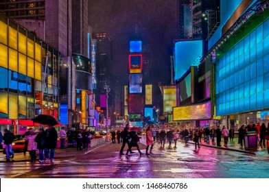 Blizzard over Times Square in New York City, United States of America.