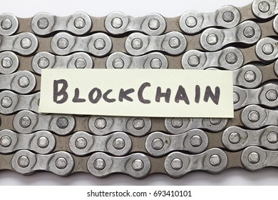 block chain concept text on bicycle chain