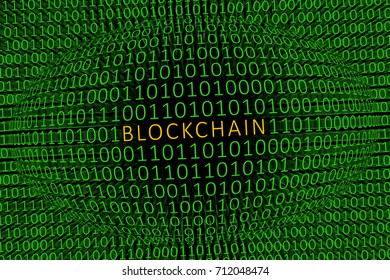 Block Chain Encryption / Image showing the word BLOCKCHAIN in gold within a sphere of ones and zeros with more green ones and zeros in the background. Depiction block chain encryption.