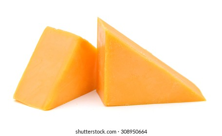Block of Cheddar Cheese Over White