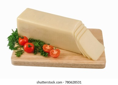 Block of cheese on wooden board. Clipping path.