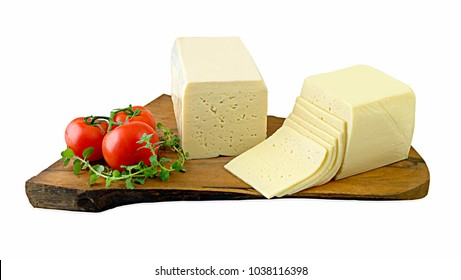 Block of cheese and slices suitable for toasts and sandwich.Clipping path.
