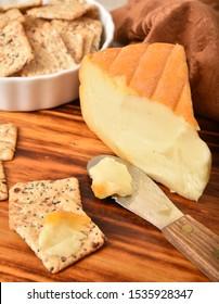 A block of delicious autumn cheese, a rare seasonal cheese from Belgium