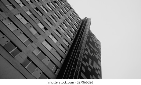 Block of flats exterior low angle view.