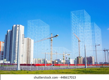 Block of flats under construction, working cranes and wire-frame structures of future buildings, photo collage