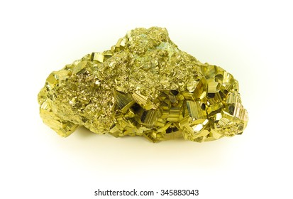 Block of gold rock isolated on white