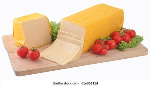 Block of gouda cheese and slices,clipping path.