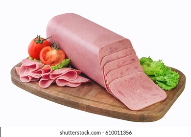 Block of ham and slices on wooden board,clipping path.