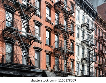 Block of historic buildings on Orchard Street in the Lower East Side neighborhood of Manhattan in New York City