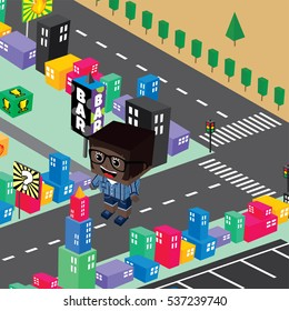block isometric world cartoon theme city view